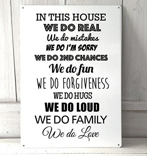, in This House Wir tun Echt Familie Zitat A4Metall Schild Art Wand