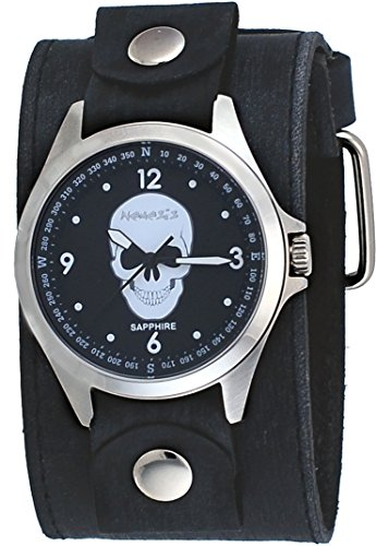 Nemesis FLBB250K Men's Signature Sapphire Collection Black Skull Dial Wide Leather Watch