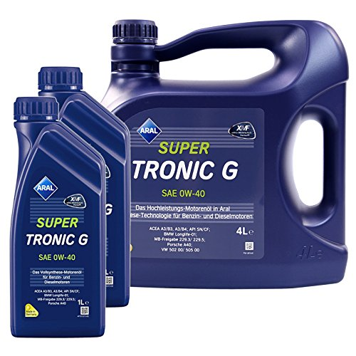 2x 1 L + 4 L = 6 Liter Aral SuperTronic G 0W-40 Motor-Öl Motoren-Öl; Spezifikationen/Freigaben: ACEA A3/B3, A3/B4; API SN/CF; BMW Longlife-01; Mercedes Benz MB 229.3 / 229.5; VW 502 00 / 505 00; Porsc