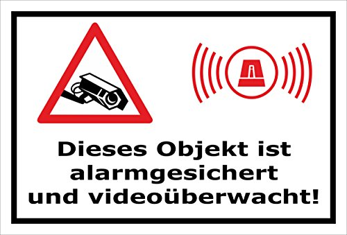Video-Überwachung Schild - Objekt alarmgesichert videoüberwacht 60x40cm mit Bohrlöchern | stabile 3mm starke Aluminiumverbundplatte – S00348-017-A – Kamera-Überwachung +++ in 20 Varianten erhältlich (60 X Video)