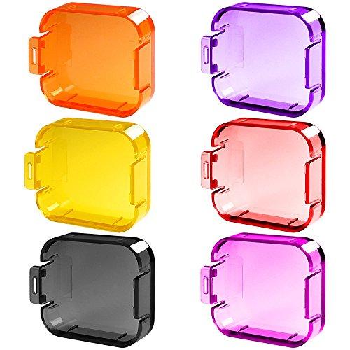 6 Pack Tauchen Filter der Objektiv für GoPro Hero 5 6, FineGood Farbkorrektur Kompensationsfilter für Unterwasser Video Fotografie Filming für Hero5 Hero6 Sport Actionkamera - Rot Gelb Lila Pink Orange Grau