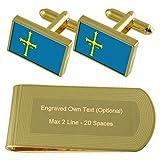 Asturien Flagge Gold-Manschettenknöpfe Geldscheinklammer Gravur Geschenkset