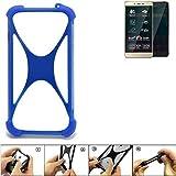 K-S-Trade Bumper für Allview P7 Pro Silikon Schutz Hülle Handyhülle Silikoncase Softcase Cover Case Stoßschutz, blau (1x)