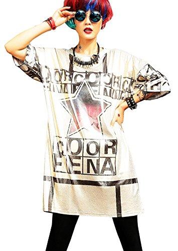 Damen Mode Fashion Tanzen Kleidung Comic Gedruckt Metallisch Hiphop Tshirt Kleider Hiphop-comic