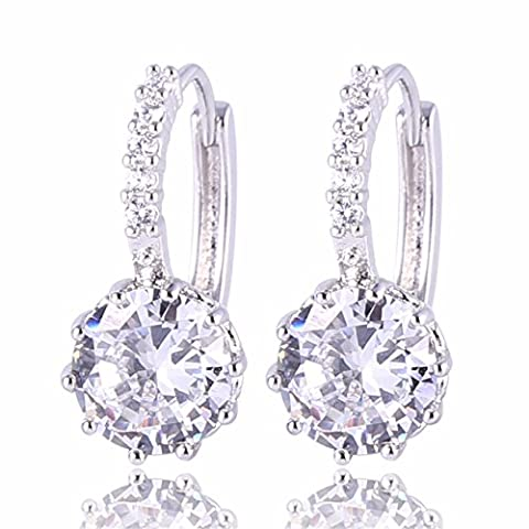 GULICX Bridesmaid Gift 925 Sterling Silver White Hoop Huggie Earrings Zircon Clear Round Stone