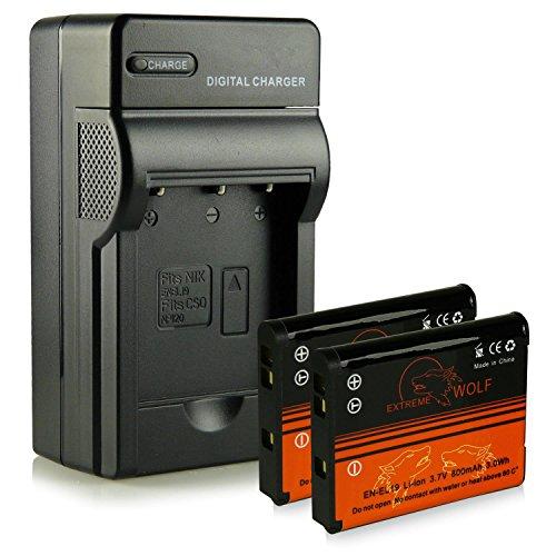 Chargeur + 2x ExtremeWolf Batterie EN-EL19 pour Nikon Coolpix S32 | S33 | S100 | S2500 | S2550 | S2600 | S2700 | S2800 | S2900 | S3100 | S3200 | S3300 | S3500 | S3600 | S3700 | S4100 | S4150 | S4200