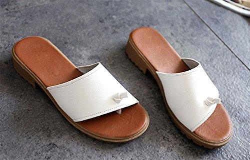orteil clip été sandales femmes et pantoufles antidérapantes sandales plates femmes pantoufles mot White
