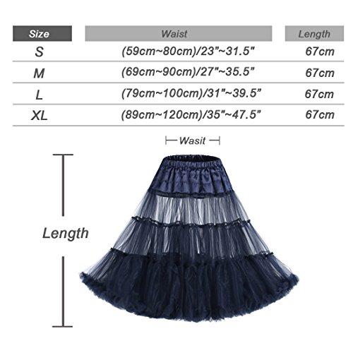 IVNIS Damen 50s Vintage Rockabilly Petticoat 26 Länge Underskirt Royalblue