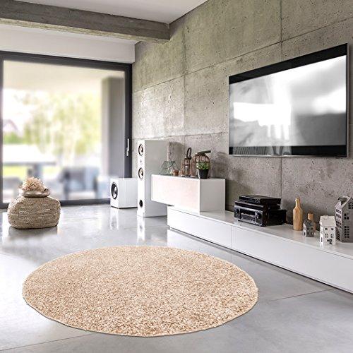 Shaggy-Teppich | Flauschiger Hochflor fürs Wohnzimmer, Schlafzimmer oder Kinderzimmer | einfarbig, schadstoffgeprüft, allergikergeeignet in Farbe: Beige; Größe: 250 cm rund