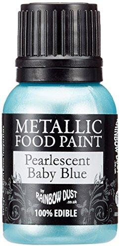 Rainbow Dust Metallic-Lebensmittelfarbe Perlmutt Baby Blue, 1er Pack (1 x 25 ml)