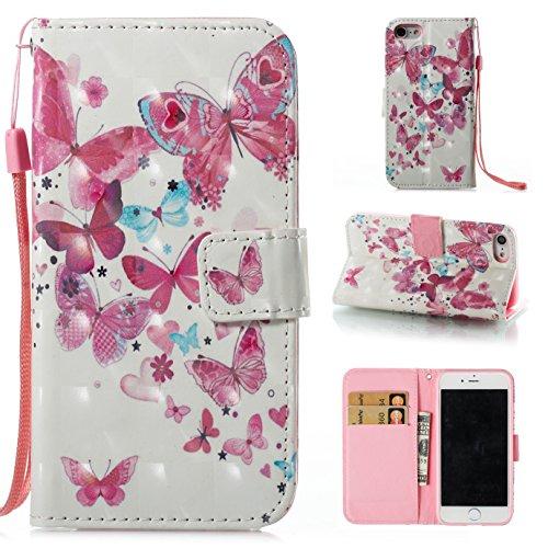 Ooboom® Hülle für iPhone X Handy Tasche 3D Flip PU Leder Schutzhülle Stand Brieftasche Wallet Case Cover mit Trageschlaufe - Vogel Schmetterlinge