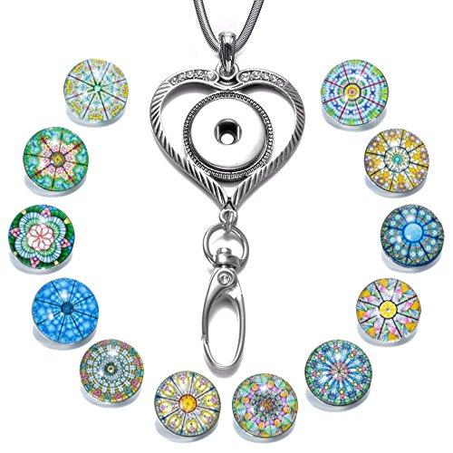 ahl Kette ID Kartenhalter Lanyard Click Button Halskette Passend Schlüssel, ID Abzeichenhalter mit 12 Stück Symmetrische Exotische Glas Click Button (Liebes-Herz) ()