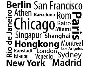 Wandtattoo-bilder® Wandtattoo Metropolen Nr 1 Länder Städte Kontinente Skylines New York Hongkong Paris Berlin Sydney Maimi Istanbul Größe 60x50, Farbe Schwarz