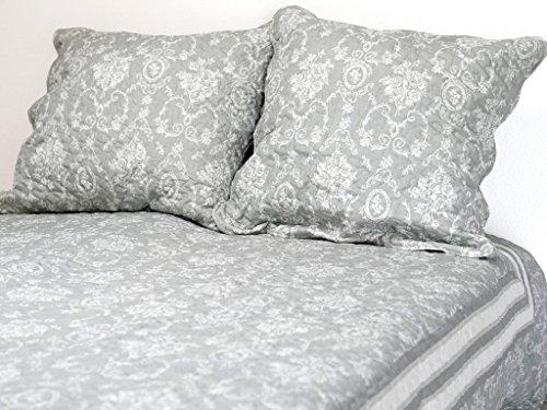 Soleil d'ocre 373092 NADINE Couvre-lit boutis matelassé avec 2 Taies d'oreiller Polyester Gris 220 x 240 cm