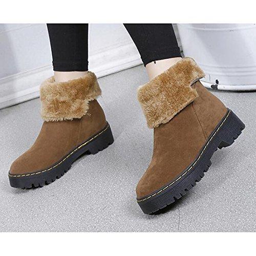 HSXZ Scarpe donna pu Autunno Inverno Comfort stivali tacco piatto Babbucce/stivaletti di abbigliamento casual Nero Marrone Black