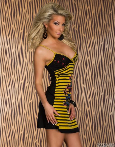 Fashion4Young - Robe - Crayon - Femme jaune/noir