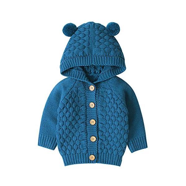 Tianhaik Bebé bebé de Punto de Ganchillo Abrigo Chaqueta con Capucha Outwear otoño Invierno suéteres Cardigan 1