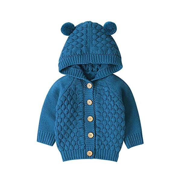 Borlai 3-24M Bebé De Punto De Abrigo Lindo Oído Con Capucha Suéter Chaqueta Casual Cardigan Outwear para Niño 1