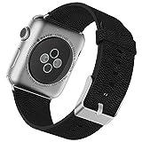 JETech Apple Watch Strap, 42mm aus Metall mit Anstecknadel Büffel-Leder Gurt Handgelenk Band Ersatz für Apple Watch Alle Modelle 42mm (schwarz)