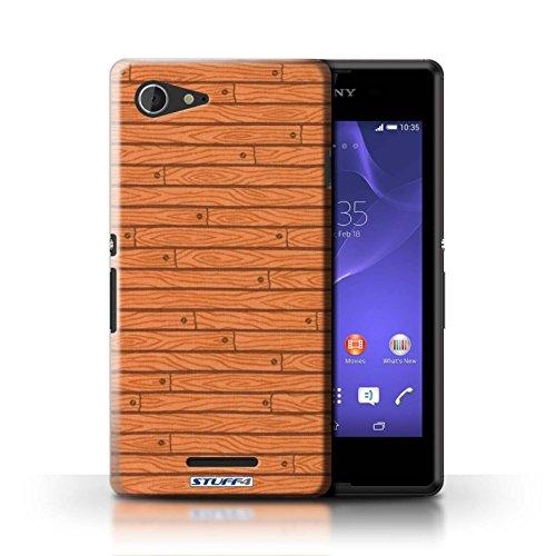 Kobalt® Imprimé Etui / Coque pour Sony Xperia E3 / Beige conception / Série Motif Bois Orange