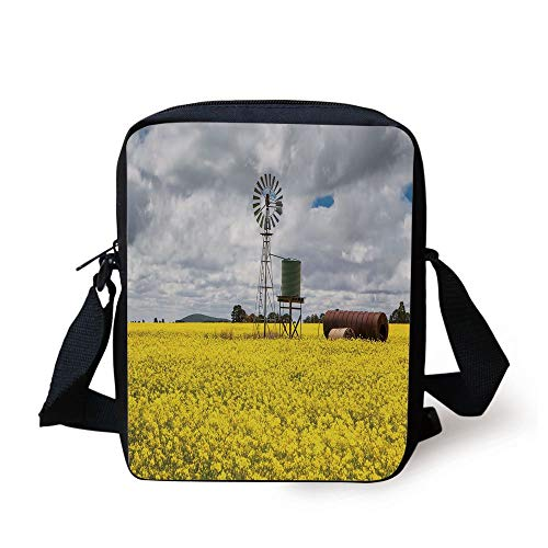 Windmill Decor,Canola Meadow Stormy Day Victorian Goldfields Agricultural Farmland Decorative,Yellow Grey White Print Kids Crossbody Messenger Bag Purse -