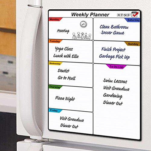 DIY Tableau blanc magnétique, DUTISON Planning hebdomadaire magnétique flexible effaçable à sec Tableau notes mémo aimanté pour Frigo Repas Familiaux, liste de jour, avec 4 Stylo Marqueurs (41 x 29,5cm)