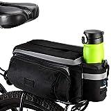 Fahrrad Satteltasche,7L Multifunktions Fahrrad Radfahren Sport Wasserdicht hinten Sitz Rucksäcke Rahmentaschen Fahrradtasche for Mountainbike Rennrad,Gepäckträger Handtasche (Schwarz)