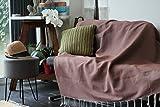 Grand Plaid, jeté de canapé ou couvre lit couleur marron | Très doux, fait main et 100% coton | Taille xxl 170 x 270, boutis, dessus ou protège fauteuil | Tissage nid d'abeille | Allée Déco