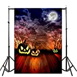 VEMOW Heißer Verkauf Halloween Backdrops Kürbis Vinyl 3x5FT Laterne Hintergrund Blackout Fotografie Studio 90x150cm(Mehrfarbig, 90x150cm)