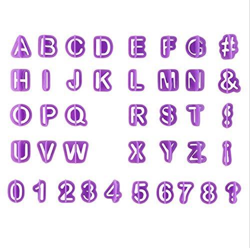 Thsinde 40 Ausstechformen Auswerfer Stempel Alphabet Zahlen Zeichensetzung Buchstaben Tortendeko Kuchen dekorations set Backen (40 Pcs Fondant Ausstecher)