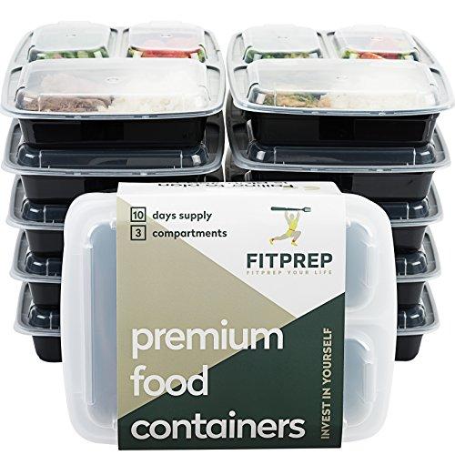 FITPREP® - DAS ORIGINAL-10er Pack- 3-Fach Meal Prep Boxen- für Meal Prep empfohlen- inkl. Rezeptheft, Zertifiziert BPA frei