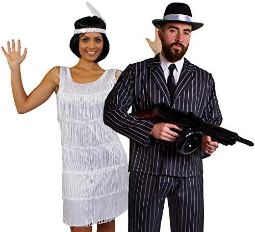 ILOVEFANCYDRESS Deluxe Gangster Paar=KOSTÜM VERKLEIDUNG= WEISSES FRANSEN Kleid +NADELSTREIFEN Anzug+Krawatte +Schnurrbart +AUFBLASBARER Maschinen Pistole +SCHWARZER Gangster Hut = Kleid-S + Anzug-M