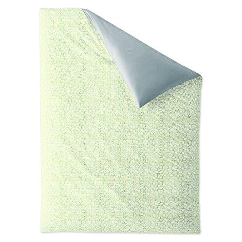 Irisette satin de coton mako-housse de couette réversible premium decor 8707 citron vert 135 x 200 cm