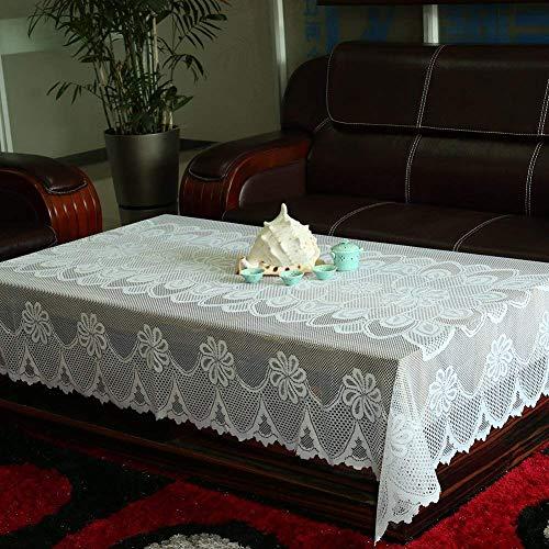 Old Tjikko Tischdecke,Spitzen-Tischdecke,Tischtuch Abwaschbar Pflegeleicht,Elegant Praktisch für Hotels,Kaffeetisch,Dekoration,Esszimmertisch,Weiße 59x98.5IN
