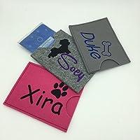 Bestickte Heimtierausweis Hund Impfpass Hülle Case Tasche aus Filz | Handarbeit | verschiedene Designs | verschiedene Filz und Garnfarben