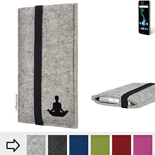 flat.design Handy Hülle Coimbra für Allview P6 Pro - Yoga Asana Lotussitz Tasche Case Filz Made in Germany hellgrau schwarz