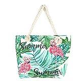 DaoRier Strandtasche Einkaufstasche Flamingo-Muster mit Reißverschluss für Damen Shopper Tasche...