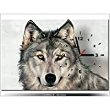 Art-Gallery XXL–60x 40cm–Lobo–Reloj de pared cuadro–Deco...