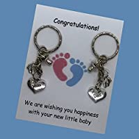 Mum Dad pregnancy expecting Handmade charm keyring baby shower gift ideal for a Party newborn UK FREE POST