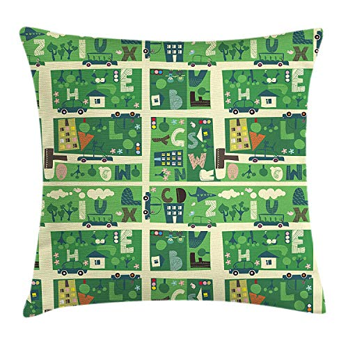 ERCGY Children's City Map Throw Pillow Cushion Cover, Colorful Town Map with Cars Apartments and Hidden Letters of Alphabet, Decorative Square Accent Pillow Case, 18 X 18 inches, Multicolor Navy Clara Slip