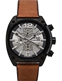 Diesel Herren-Armbanduhr Overflow Analog Quarz Leder DZ4317