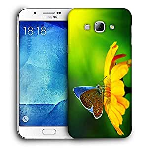Snoogg Butterfly In Sunflower Printed Protective Phone Back Case Cover For Samsung Galaxy A8