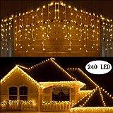 BrizLabs 240 LED Weihnachtsbeleuchtung Außen Eisregen Lichterkette Warmweiß Lichtervorhang Weihnachten Deko Beleuchtung 8 Modi Innen Eiszapfen Lichterkettenvorhang für Party, Hochzeit, Garten