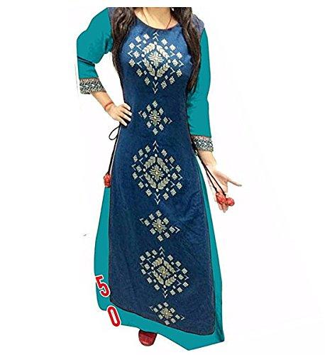 Muta Fashions Sea Green Traditional Tafeta & Banglory Silk Embroidered Women\'s Kurti