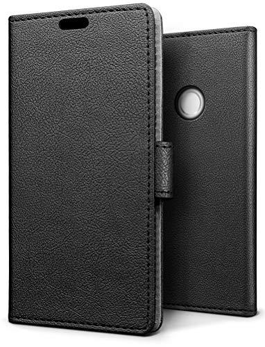 SLEO Hülle für BQ Aquaris C, PU Leder Case Cover Tasche Schutzhülle Flip Case Wallet im Bookstyle für BQ Aquaris C Hülle - Schwarz