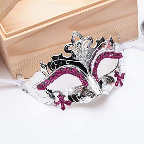 QTJKH Horror Maske Venezianische Maskerade Halbes Gesicht Tanzmaske Frauen Mädchen Maskerade Ball Kostüm Make Up Hochzeitsfest Dekoration Prinzessin Maske @ Silber