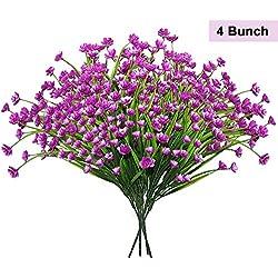 BELLE VOUS Plantas Artificiales (Pack de 4) Arbustos Flores Purpura Artificiales - Plantas Falsas- Follaje Realista para Maceta, Oficina, Cocina, Jardin, Interiores, Exteriores y Centro de Mesa
