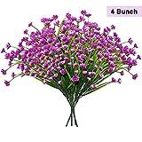 BELLE VOUS Kunstblumen lila(4er-Pack) Kunstpflanzen- Kunstblumen Deko- Künstliche Blumen lila für Topf, Büro, Küche, Garten, Drinnen, Draußen & Tischdeko - Perfekt für Blumengestecke und Sträuße