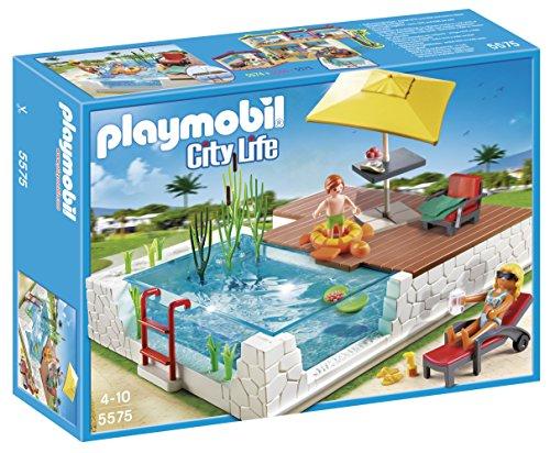 PLAYMOBIL - Juego de construcción, Piscina con Terraza (5575)