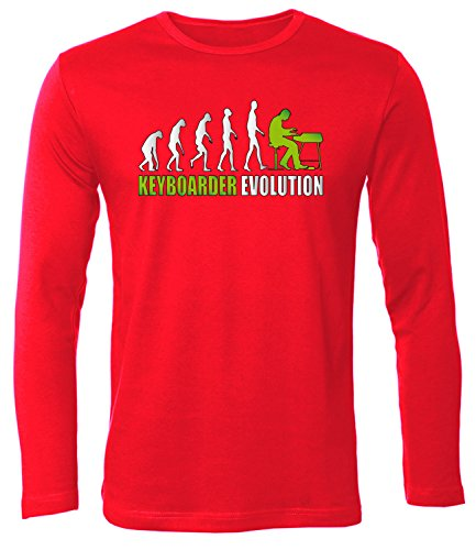 love-all-my-shirts Keyboarder Evolution 4593 Herren Longsleeve (HL-R-Weiss-Grün) Gr. XXL